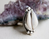 Boho Beach Luxe Cowrie Shell and Sterling Silver Ring