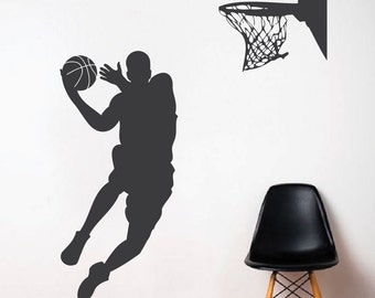 Basketball Player Wall Decal - Jump Shoot Loop Basketball Decal - Basketball Wall Decal Sticker - Removable Wall Decals for Teens - s11