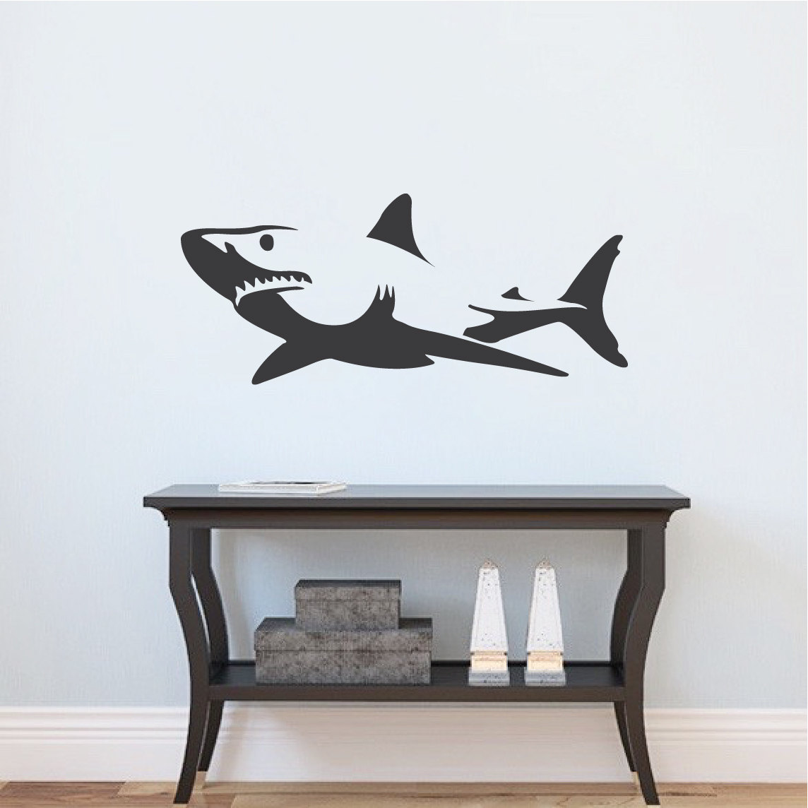 shark wall decal sticker removable shark decals large wall. Black Bedroom Furniture Sets. Home Design Ideas