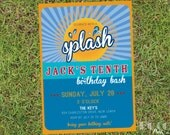 Splash Bash Pool Party Kids Printable Birthday Invitation