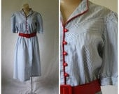 1980's Dress / Red White & Blue Dress / Vintage Dress / Day Dress L/XL
