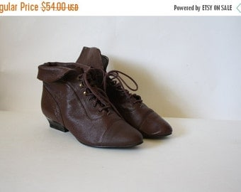 Sale Vintage Boots / Granny Boots / Leather Boots / Vintage Ankle Boots / 1980's Boots / Leather Boots / Bootalino Boots 8