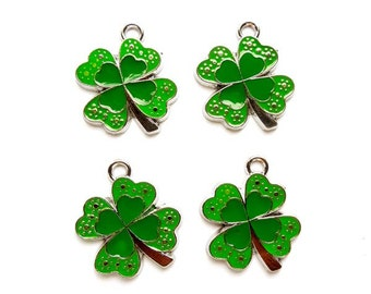 4 St. Patrick's Day 4 Leaf Clover Charms - 21-37-7