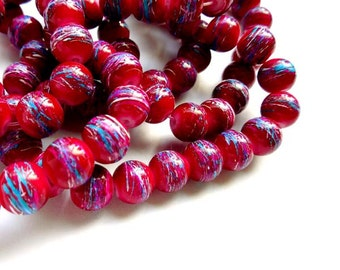 50 Dark Magenta Drawbench Glass Beads - 24-16