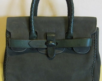 Vintage green suede leather handbag, gorgeous bag! Green Hills; VG condition!