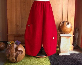 Plus sizes - US 18 - 32, UK 20 - 34 , balloon pants/trousers European Layering Look - linen pure, red