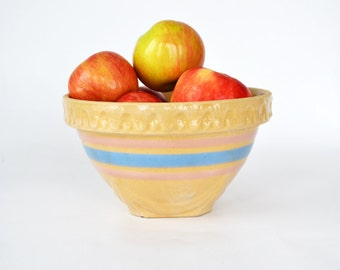 Antique Yellow Ware Bowl | Vintage Mixing Bowl | Stoneware | Blue & Pink Banded Bowl |Stoneware Bowl | Farmhouse Style