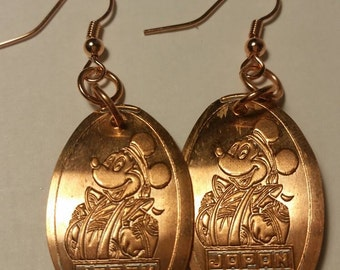 Japan Mickey Mouse DISNEY EPCOT  Pressed Penny Earrings! So Shiny!