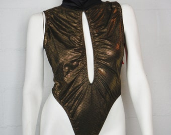 Vintage 80s 90s sexy retro Wicked Wear Undercover Wear gold one piece lingerie thong turtleneck with tag size 3X made in the USA