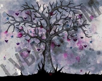 Tree Hearts & Stars Fine Art Print