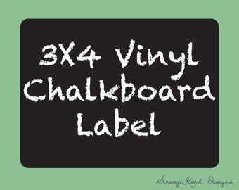 Round Square 3 X 4 Black Vinyl Chalkboard Labels Set of 16