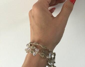Crochet Linen Bracelet, Beaded Bracelet, Pure Natural Linen, Glass Beads