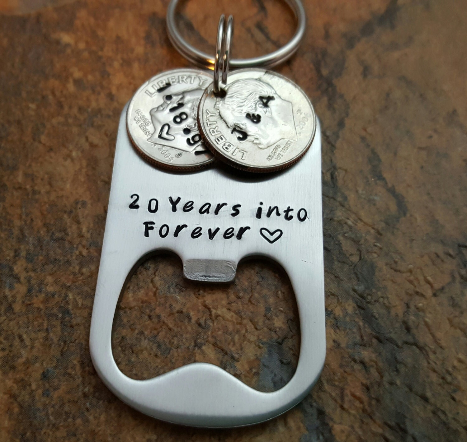 20th Anniversary Traditional Gift: 20th Anniversary Keychain 20 Years Into Forever Husband