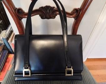 Vintage 1950s 1960s navy blue Kelly style handbag