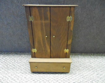 Barbie Doll Size Wardrobe Vintage Hand Crafted Wood One Drawer Hanging Rod Shelf Stained Medium Brown Toy Collectible Dollhouse Furniture