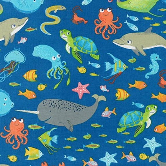 Aquatic friends fabric ocean fish dolphins octopus squid for Children of the sea fabric