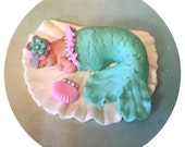 MERMAID BABY SHOWER Ca ke ToppeR Under the sea Baby shower Mermaid party Invitations Mermaid decorations party fondant cake topper mermaid