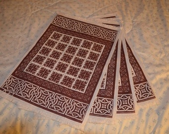 ON SALE  Four Vintage Placemats with a Celtic Design in Brown and White