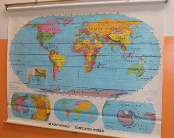 "Retro Rand McNally Simplified World Pull Down Map 68""x51"""