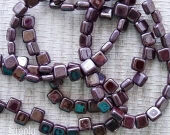 Dark Plum Czech Glass Two Hole Tile Glass Beads - 25 beads - 2683 - Dark Plum Tile Beads - 6mm Purple Tile Beads
