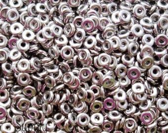 4mm Full Jet Argentic O Beads, 2641, 9 Grams Jet Argentic Full Ring Beads - Antique Silver O Beads