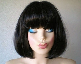 Black wig. Short wig. Bob hair wig. Short black wig.  Cosplay wig. Bob short black wig. Durable bob hair wig for cosplay or daytime use