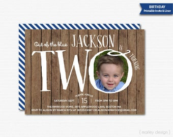 2nd Birthday Invitation Printable Invitation Digital Invitation Turning Two Wood Texture Photo Invitation Picture Invite Second Invitation 2