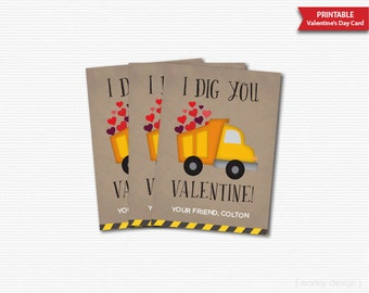 I Dig You Valentines Cards Printable Classroom Valentines Boys Valentines Personalized Truck Valentines Digital Kids Valentines Cards DIY