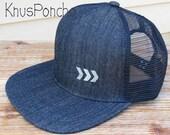 Vintage old school style - Dark Blue Denim - Hand printed Arrow snapback Trucker Mesh Hat - Modern - Unisex - chevron