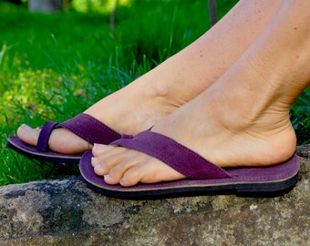 Dark PURPLE Suede Leather FlIP FLOPS, Hippie Leather Thong Sandals, Purple Sandals, Flat Sandals, Summer Shoes, Barefoot Sandals