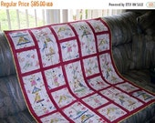 Mothers Day Sale Birds and Birdcages on a Colorful Lap Quilt