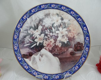 "1992 W.S. George Lena Liu Basket Bouquet series ""Lilies"" - Limited Edition Collector Plate"
