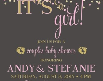 ON SALE! Couples Baby Shower Invitation, Confetti It's a Girl Baby shower pink and gold Co-ed