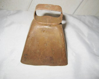 Copper bell, cow dairy bell, vintage distressed bell, collectible, mid century home decor