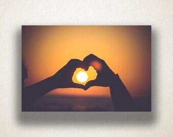 Sunset in a Heart Canvas Art, Hand Heart Wall Art, Lovers Canvas Print, Love Wall Art, Photograph, Canvas Print, Home Art, Wall Art Canvas