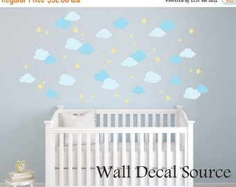 Clouds Wall Decal Pattern - Clouds Wall Sticker Pattern - Nursery Wall Decal