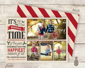 Christmas Photo Card - Wonderful Cheer Design - A Printable Christmas Card - Optional Backside Included