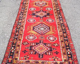 1970s Hand-Knotted Ardabil Persian Rug Runner (3297)