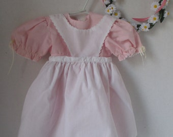 American Girl Kirsten 1989 Pink Birthday Dress Pinafore and Wreath Pleasant Co 1989