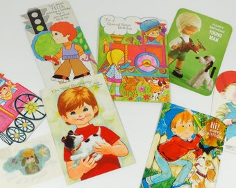 1970s Boy Birthday Cards - Lot of 7 Vintage Signed Birthday Cards 70s Vintage Birthday Cards Scrapbooking Supplies