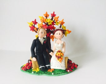 Fall Autumn theme wedding cake topper- Custom made bride and groom under a fall maple tree wedding cake topper - fall colors
