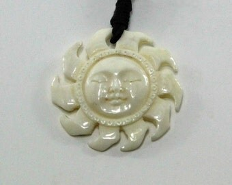 Carved Bone Sun with Smiling Face Necklace (bone necklace 020)