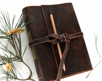 Aged Brown Leather Journal, Leather Sketchbook, Travel Journal, A5, Blank Cream Paper, Leather Notebook