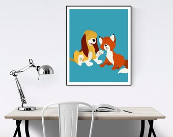 Fox and the Hound Minimalist Poster