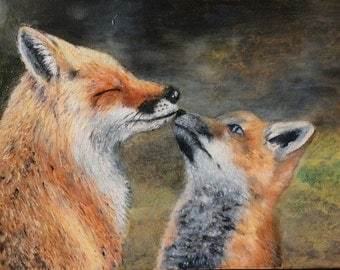 "Oil painting -""Red foxes"""