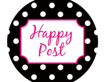 35mm round - dotty happy post stickers