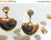 SALE 30 Puff Heart Dangle Earrings Gold Tone Post