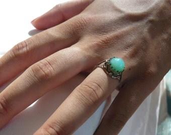 Australian Chrysoprase Ring Sterling Silver size 8
