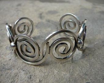 Vintage Taxco Silver Spiral Cuff Mexican Sterling