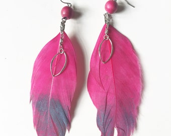 Hot Pink Feather Statement Earrings